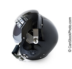 Aviator Helmet - black aviator helmet isolated on a white...