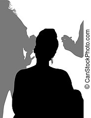 Makeup - Silhouettes of young girls in beauty salon