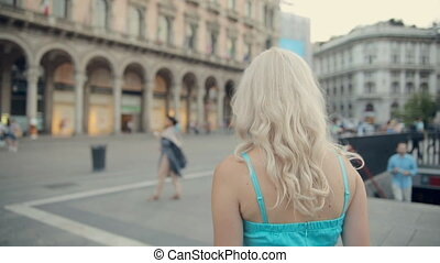 Amazing blonde walking down the street of Milan - Amazing...