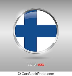 Shiny, glossy vector badge with Finland flag