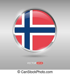 Shiny, glossy vector badge with Norway flag