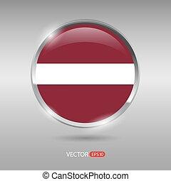 Shiny, glossy vector badge with Latvia flag