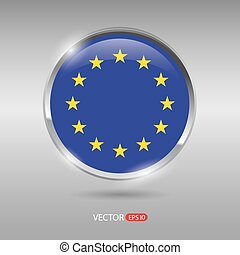Shiny, glossy vector badge with Europe flag