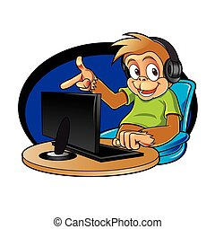 Monkey cartoon with computer