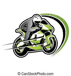 Motorcycle green racer vector