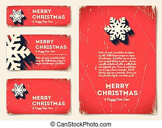 Collection of Christmas banners with snowflake