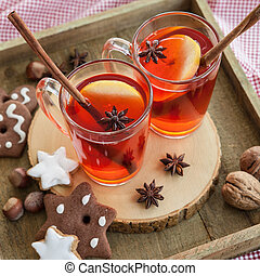 Hot rum punch with apple and spices