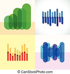 Infographics set with overlapping bars and line graph