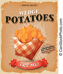 Grunge And Vintage Wedge Potatoes Poster - Illustration of a...