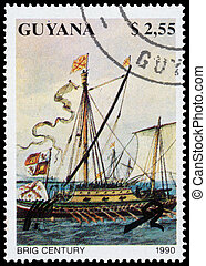 Stamp printed in Guyana shows Brig Century Ship - GUYANA -...
