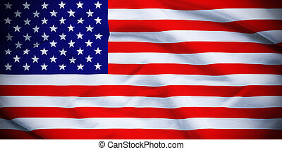 USA Flag - Wavy and rippled national flag of USA background.