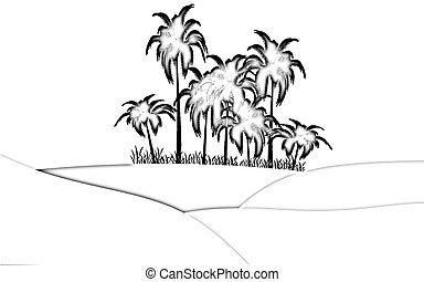 oasis in desert - illustration of oasis in desert palms and...