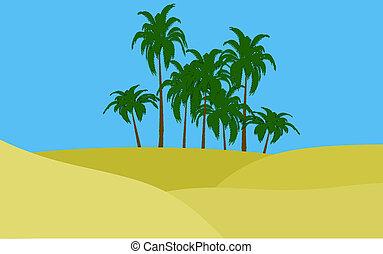 oasis in desert - illustration of oasis in desert palms and...