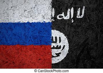 levant,  islamic, estado, Bandeiras, Iraque,  rússia