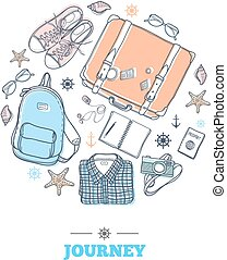Travel stuff in circle - Set with suitcase, backpack,...