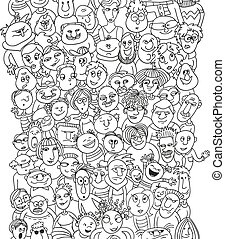 Funny pattern crowd of people faces
