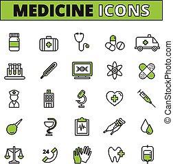 Medical Icons Set - Medical line icons set with ambulance...