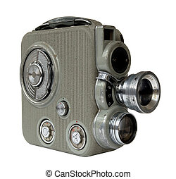 Old 8mm camera - old 8mm movie camera on white background