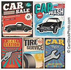 Vintage set of vector cars for advertising - Vintage retro...