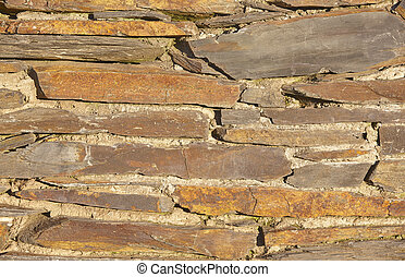 Slate bricks with concrete wall detail background in warm tone