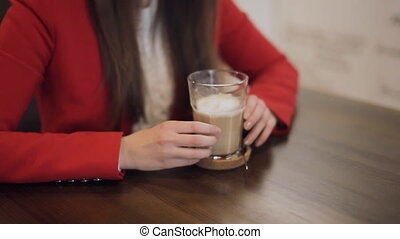 Coffee cup in female hands - Coffee cup in girl hands