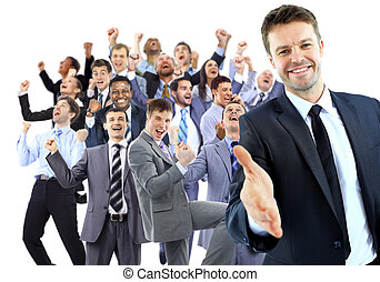 Happy business group. leader with open hand and ready to...
