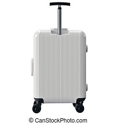 Luggage on wheels white, back view