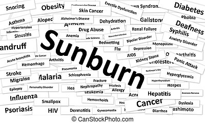 Sunburn - A disease called Sunburn written in bold type....