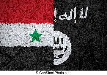 levant,  islamic, estado, Bandeiras, Síria, Iraque