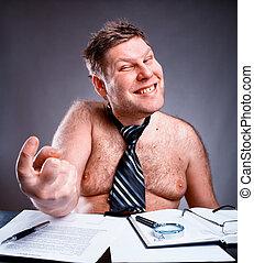 Freak shirtless businessman - Freak shirtless manager...