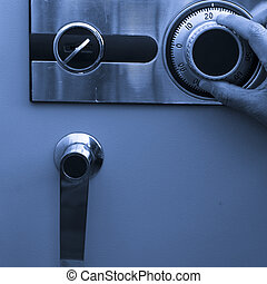 steel safe - open the steel safe,finger turn it of a man