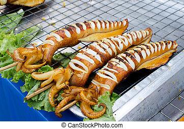 grillé, calamar,