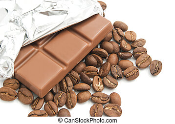 chocolate bar and heap of coffee beans