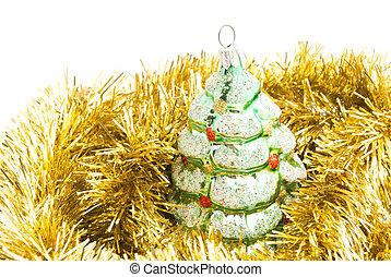 juguete, árbol, oropel, oro, navidad