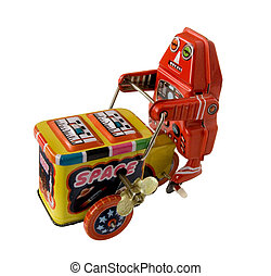 three wheeler robot toy - vintage metal robot toy on a three...