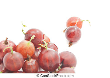some tasty red gooseberries on white background