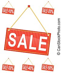 red sign label with the inscription sale hanging on a rope vector illustration