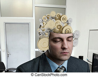 Man with bearing in his brain - Man with construction of...