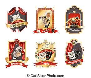 Theatre Emblems Set - Theatre realistic emblems set with...