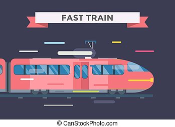 Passenger and transportation trains vector collection....