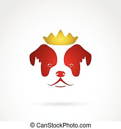 Vector image of an red dog crowned on white background.