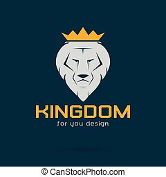 Vector image of an white lion crowned