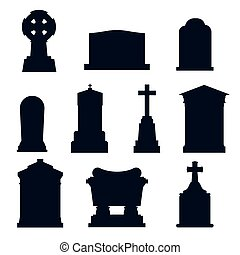 Tombs stone grave vector construction black and white icons...