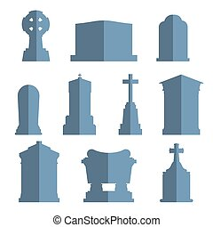 Tombs stone grave vector construction set Vector tombs icons...