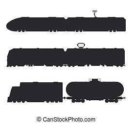 Modern, vintage trains vector black and white icons...