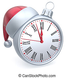 Christmas ball alarm clock New Years Eve time Santa hat...