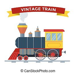 Old vintage retro transportation train vector collection....