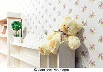 Beautiful wooden cupboard in childrens room - Beautiful...