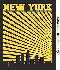 New York label - New York city concept, logo, label. Word...