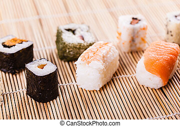 Delicious sushi assortment - an assortment of different...
